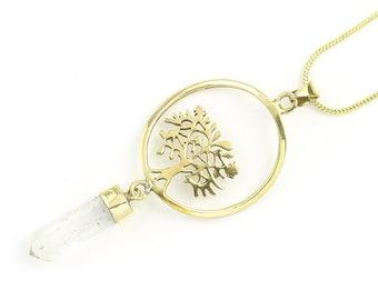 Tree of Life Crystal Necklace, Brass Quartz Crystal Necklace, Sacred Geometry, Festival Jewelry, Spiritual, Yoga, Meditation, Boho, Gypsy