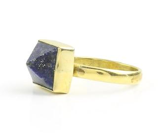 Lapis Pyramid Ring, Brass Lapis Ring, Lapis Lazuli, Geometric, Minimal Ring, Modern Ring, Festival Jewelry, Gypsy Jewelry, Boho
