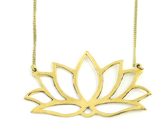 Large Lotus Necklace, Open Lotus Flower Pendant, Yoga Jewelry, Meditation, Festival Jewelry, Boho, Bohemian, Gypsy, Hippie, Spiritual