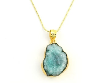 Agate Crystal Necklace, Raw Stone Necklace, Crystal Necklace, Raw Stone Jewelry, Festival Jewelry, Boho, Hippie