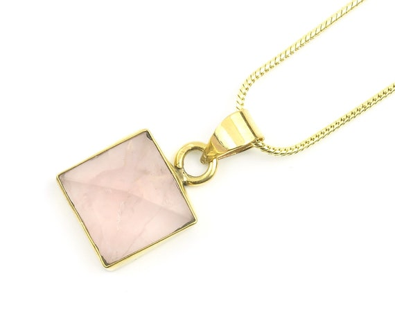 Rose Quartz Pyramid Necklace, Brass Rose Quartz Necklace, Pink, Festival Jewelry, Spiritual, Yoga, Meditation, Boho, Gypsy