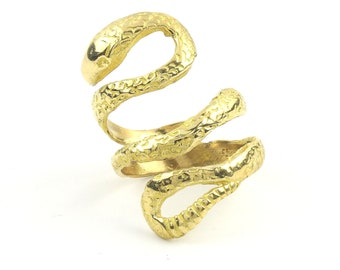 Brass Snake Ring, Wrap Around Snake Ring, Serpent Ring, Wiccan, Festival Jewelry, Gypsy Jewelry, Boho