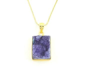 Purple Quartz Druzy Necklace, Raw Stone Necklace, Crystal Necklace, Raw Stone Jewelry, Festival Jewelry, Boho, Hippie