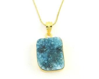 Blue Quartz Druzy Necklace, Raw Stone Necklace, Crystal Necklace, Raw Stone Jewelry, Festival Jewelry, Boho, Hippie