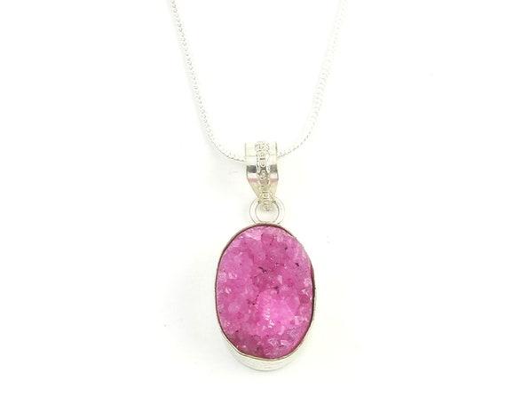 Pink Quartz Druzy Necklace, Raw Stone Necklace, Crystal Necklace, Raw Stone Jewelry, Festival Jewelry, Boho, Hippie
