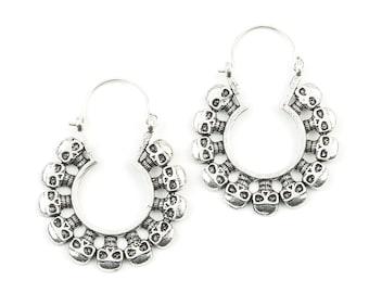 Skull Earrings, Skeleton Hoop Earrings, Day Of The Dead, Festival Earrings, Gypsy Earrings, Ethnic Earrings, Brass Earrings