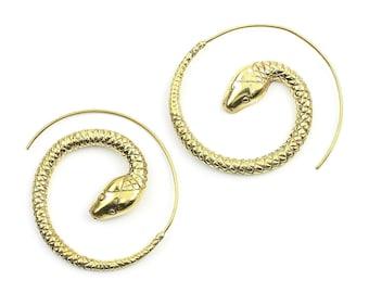 Snake Earrings, Spiral Serpent Earrings, Boho Jewelry, Tribal Earrings, Festival Jewelry, Gypsy Earrings, Ethnic