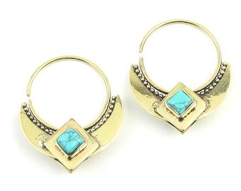 Desert Queen Turquoise Earrings, Brass Turquoise Earrings, Gemstone Jewelry, Boho Jewelry, Festival, Gypsy Earrings, Ethnic Earrings