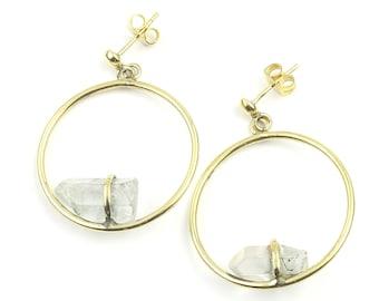 Crystal Circle Earrings, Quartz Crystal Brass Earrings, Geometric, Modern, Unique Earrings, Boho Jewelry, Festival, Gypsy Earrings