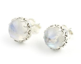Sterling Silver Moonstone Stud Earrings, Large Stud Earrings, Boho, Rainbow Moonstone, Gypsy, Ethnic Earrings