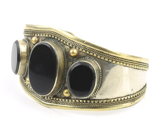 Black Onyx Cuff Bracelet, Afghani Arm Band, Vintage bracelet, Middle Eastern, Festival, Tribal, Ethnic, BOHO, Gypsy