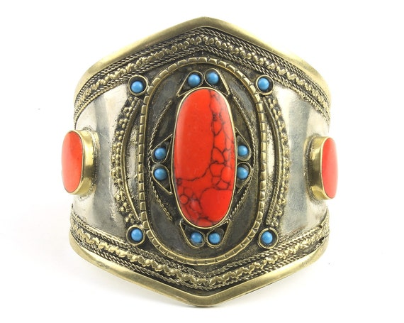 Red Coral And Turquoise Cuff Bracelet, Afghani Arm Band, Vintage bracelet, Middle Eastern, Festival, Tribal, Ethnic, BOHO, Gypsy