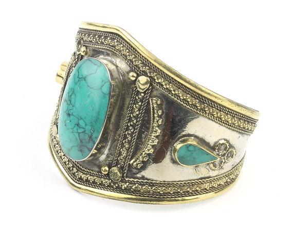 Turquoise Cuff Bracelet, Afghani Arm Band, Vintage bracelet, Middle Eastern, Festival, Tribal, Ethnic, BOHO, Gypsy