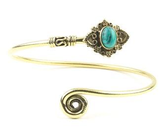 Turquoise Mandala Bracelet, Sari Bracelet, Lower Arm Cuff Bracelet, Gemstone Bracelet, Wrap Around Bracelet, Festival Jewelry, Boho