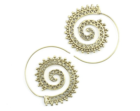 Vehari Earrings, Spiral Brass Earrings, Swirl Earrings, Tribal Earrings, Boho, Festival Jewelry, Gypsy Earrings, Ethnic