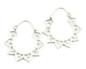 Sterling Silver Mandala Earrings, Boho, Tribal Earrings, Festival Earrings, Gypsy Earrings, Ethnic Earrings, Lotus Sterling Earrings