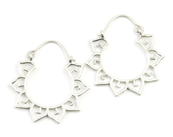 Sterling Silver Mandala Earrings, Boho, Tribal Earrings, Festival Earrings, Gypsy Earrings, Ethnic Earrings, Lotus Sterling Earrings