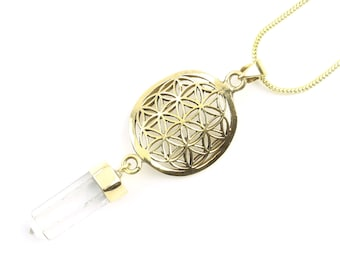 Flower Of Life Crystal Necklace, Sacred Geometry Brass Quartz Crystal Necklace, Festival Jewelry, Spiritual, Yoga, Meditation, Boho, Gypsy