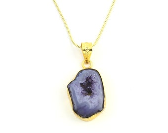 Purple Agate Crystal Necklace, Raw Stone Necklace, Crystal Necklace, Raw Stone Jewelry, Festival Jewelry, Boho, Hippie