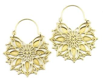 Mandala Earrings, Brass Earrings, Ornate Ethnic Earrings, Tribal Brass Earrings, Festival Earrings, Gypsy Earrings, Hoop Earrings