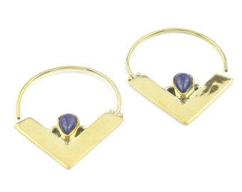 Lapis lazuli Brass Earrings, Triangle Earrings, Modern, Boho, Bohemian, Tribal Earrings, Festival Jewelry, Gypsy Earrings, Ethnic, Hippie