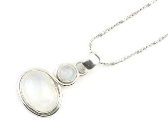 Sterling Silver Moonstone Necklace, Rainbow Moonstone, Gemstone, Meditation, Spiritual, Boho, Gypsy, Festival