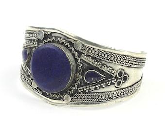 Lapis Cuff Bracelet, Afghani Arm Band, Vintage bracelet, Middle Eastern, Festival, Tribal, Ethnic, BOHO, Gypsy