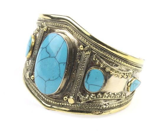 Turquoise Temptress Cuff Bracelet, Afghani Arm Band, Vintage bracelet, Middle Eastern, Festival, Tribal, Ethnic, BOHO, Gypsy
