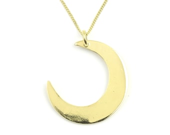 Brass Moon Necklace, Crescent Moon Pendant, Cosmic, Space Jewelry, Festival Jewelry, Boho, Bohemian, Gypsy, Wiccan, Spiritual