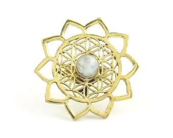 Moonstone Flower Of Life Ring, Brass Sacred Geometry Ring, Bohemian, Boho, Gypsy, Festival, Yoga, Meditation Jewelry