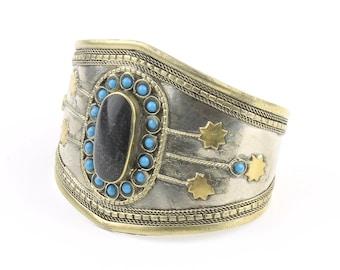 Black Onyx Turquoise Cuff Bracelet, Afghani Arm Band, Vintage bracelet, Middle Eastern, Festival, Tribal, Ethnic, BOHO, Gypsy
