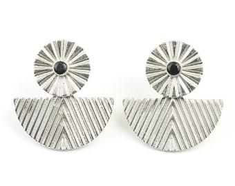 Rune Ear Jackets, Sterling Silver Black Onyx Earrings, Gemstone Jewelry, Boho Jewelry, Festival Earrings, Gypsy Earrings, Ethnic Earrings