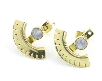 Moonstone Ear Jackets, Brass Earrings, Gemstone Jewelry, Modern, Minimal, Boho Jewelry, Festival Earrings, Gypsy Earrings, Ethnic Earrings