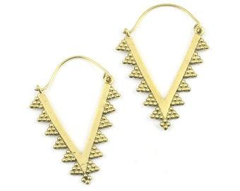 Vira Earrings, Brass V Earrings, Boho, Tribal Brass Earrings, Festival Earrings, Gypsy Earrings, Unique Jewelry