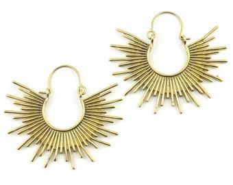 Sun Goddess Earrings, Sunburst Earrings, Boho, Tribal Brass Earrings, Festival Earrings, Gypsy Earrings, Hoop Earrings