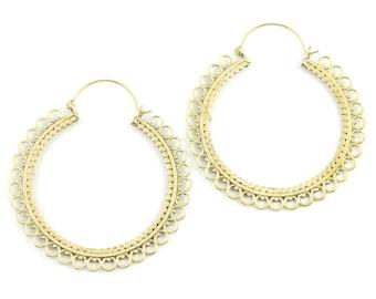 Large Mandala Earrings, Pali Earrings, Large Brass Hoop Earrings, Statement Piece, Boho, Modern, Festival, Gypsy Earrings, Ethnic