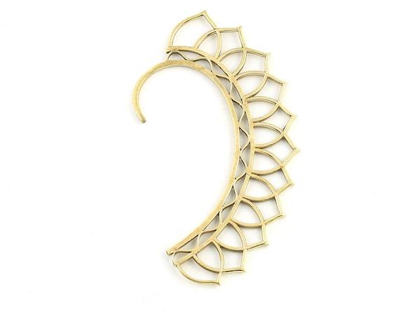 Flower Ear Wrap, Brass Ear Cuff, Boho Jewelry, Tribal Ear Jewelry,  Festival Jewelry, Gypsy, Ethnic, Hippie Jewelry