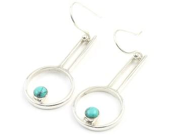 Sterling Silver Turquoise Earrings, Circle, Modern, Geometric, Boho, Tribal Earrings, Festival Earrings, Gypsy Earrings, Ethnic Earrings
