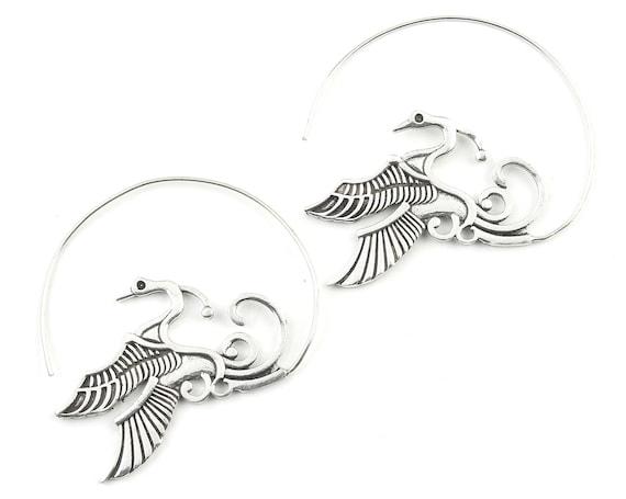 Phoenix Hoop Earrings, Bird Earrings, Peacock, Boho Jewelry, Tribal Earrings, Festival Jewelry, Gypsy Earrings, Ethnic