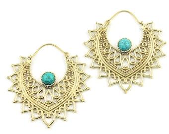 Turquoise Mandala Earrings, Brass Earrings, Boho, Gemstone Jewelry, Mehndi,  Festival Earrings, Gypsy Earrings, Ethnic Earrings