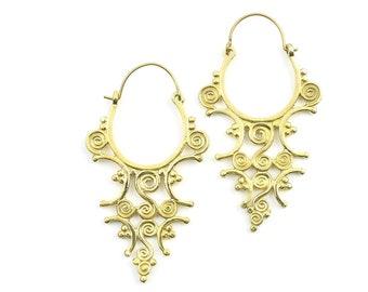 Spiral Earrings, Large Drop Earrings, Ethnic Earrings, Boho Earrings, Tribal Earrings, Festival Jewelry, Gypsy Earrings, Yoga Jewelry