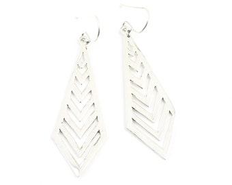 Sterling Silver Arrow Earrings, Triangle Earrings, Geometric, Boho, Tribal Earrings, Festival Earrings, Gypsy Earrings, Ethnic Earrings