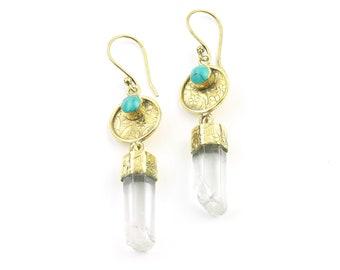 Crystal Garden Earrings, Quartz And Turquoise Earrings, Brass Gemstone Jewelry, Boho Jewelry, Festival, Gypsy Earrings, Ethnic Earrings