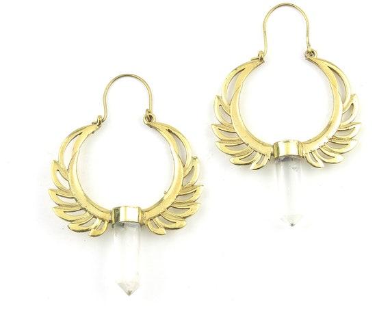 Winged Crystal Earrings, Quartz Crystal Brass Earrings, Unique Earrings, Boho Jewelry, Festival, Gypsy Earrings, Ethnic Earrings