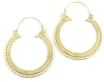Extra Large Bird Earrings, Peacock Earrings, Large Brass Festival Earrings, Statement Piece, Boho, Modern, Festival, Gypsy Earrings, Ethnic