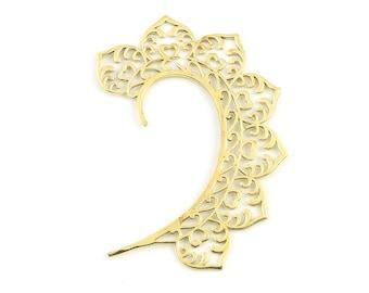 Mandala Ear Wrap, Brass Ear Cuff, Heart, Boho Jewelry, Tribal Ear Jewelry,  Festival Jewelry, Gypsy, Ethnic, Hippie Jewelry