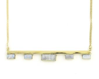 Large Moonstone Bar Necklace, Brass Moonstone Necklace, Statement Piece, Festival Jewelry, Boho, Bohemian, Gypsy, Spiritual