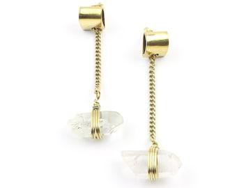 Cleo Earrings, Quartz Crystal Brass Earrings, Chain, Modern, Unique Earrings, Boho Jewelry, Festival, Gypsy Earrings, Ethnic Earrings