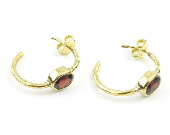 Garnet Brass Earrings, Hoop Earrings, Minimal Earrings, Modern, Unique Earrings, Festival Earrings, Gypsy Earrings