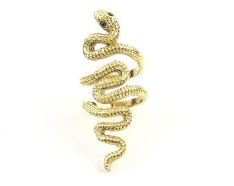 Large Brass Snake Ring, Wrap Around Snake Ring, Serpent Ring, Wiccan, Festival Jewelry, Gypsy Jewelry, Boho